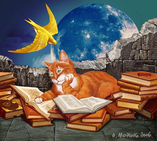 Кот учёный, кошка, книга,