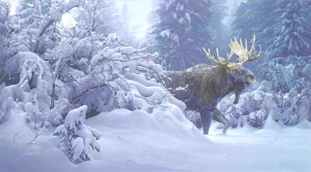 Лось в зимнем лесу, оригинал