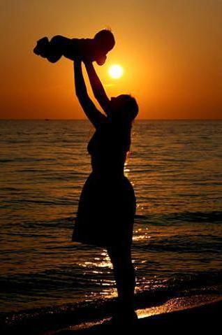 Фото мама с ребёнком на закате