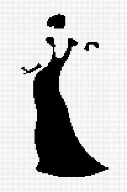 Силуэт дамы (монохром)
