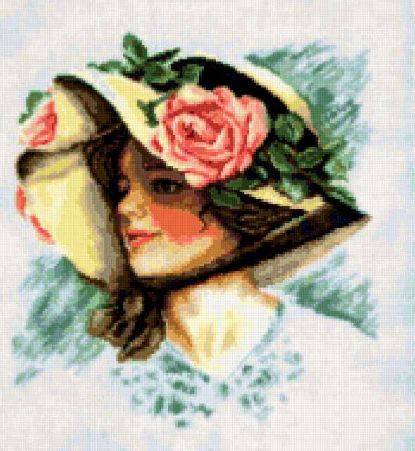 Вышивка 68-03 Девушка в шляпе Купить наборы для 4