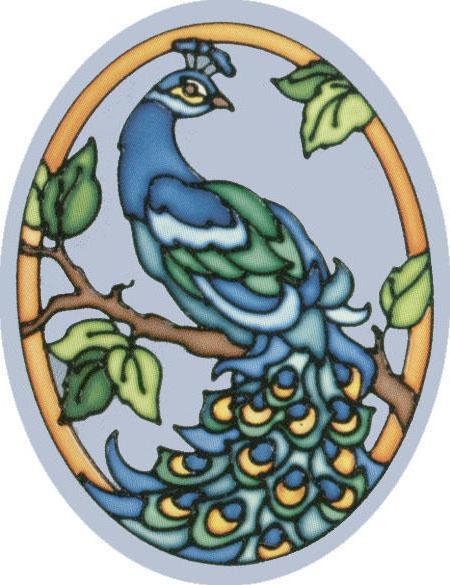 Витраж, рисунок птицы витраж