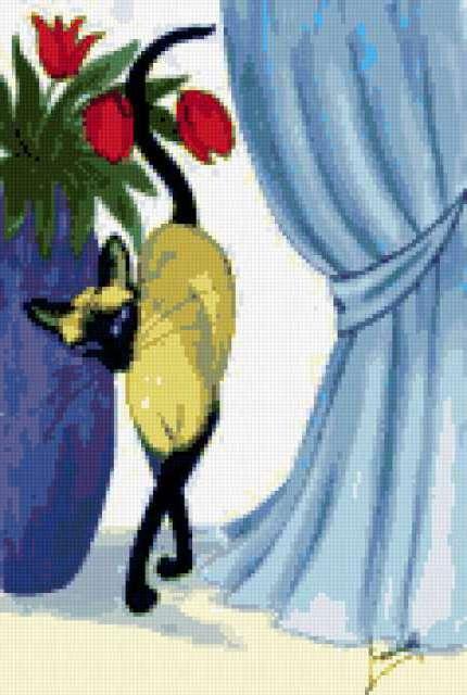Сиамская кошка и тюльпаны,