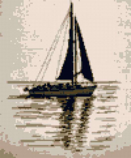 Яхта в море, предпросмотр