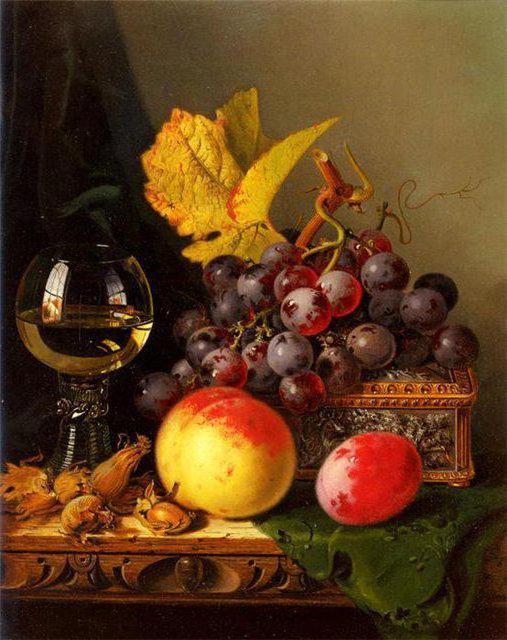 Натюрморт с вином и фруктами,