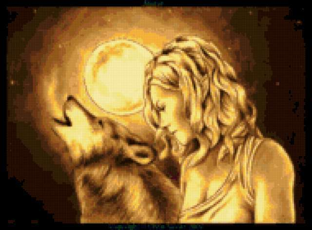 Полночь, девушка, волк, луна