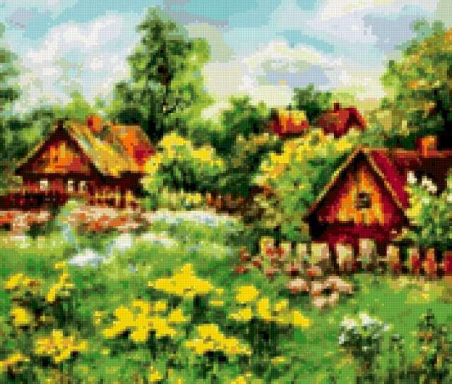 Деревенский пейзаж с домиками,