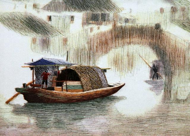 Восточный пейзаж с лодкой,