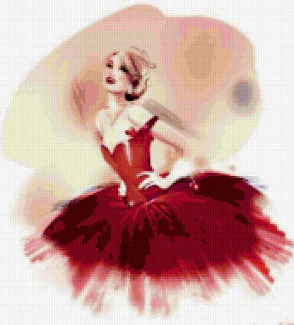 Прекрасная балерина в красном,