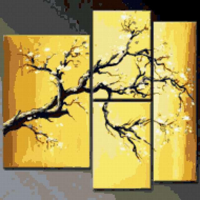 триптих, дерево, сакура,