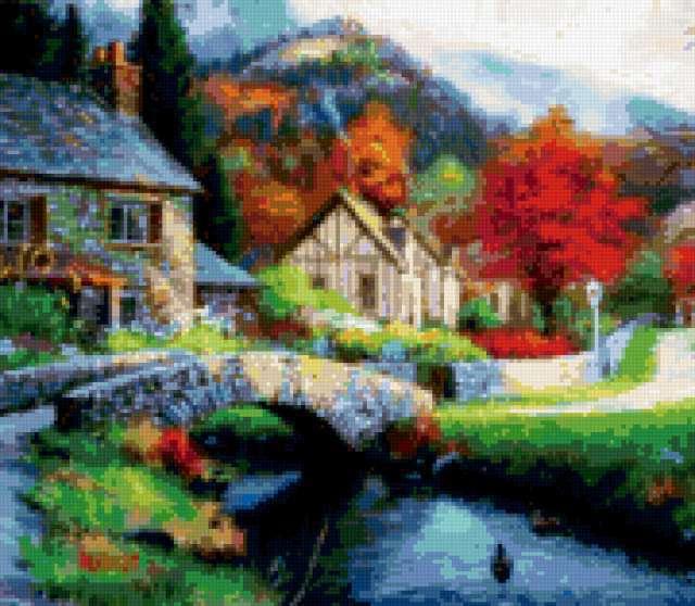 Деревенский пейзаж с мостиком,