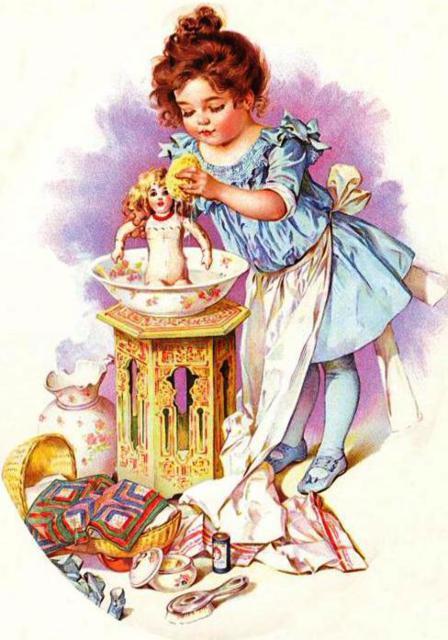 Девочка и кукла, дети, ретро,