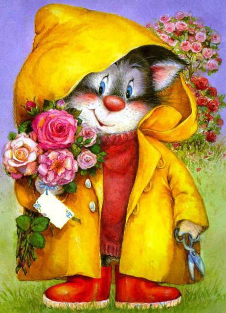 Кот с цветами, оригинал