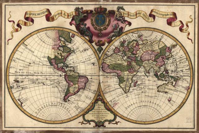 Карта мира Франция, оригинал