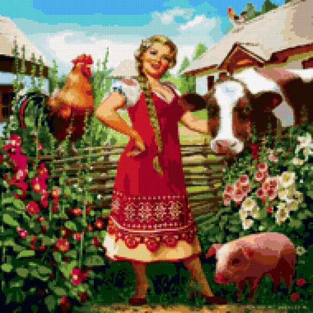 Лето в деревне, люди, животные