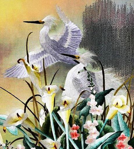 Белые цапли и цветы, птицы,