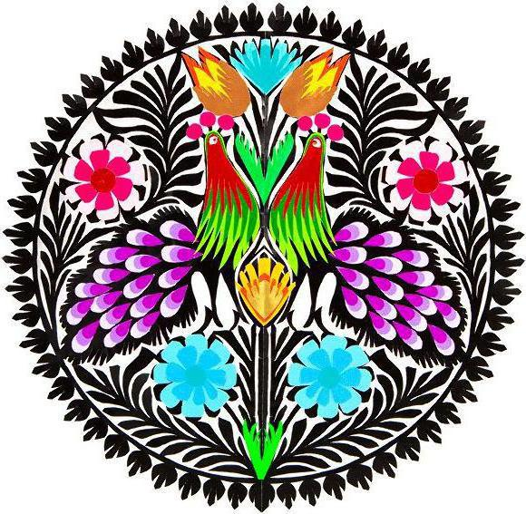 Polish Folk Art - Roosters, folk art, polish, bright, colorful, flowers, roosters