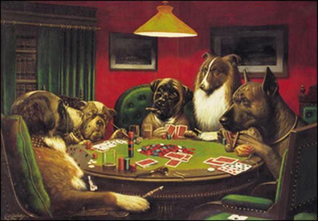 Собаки играют в покер,