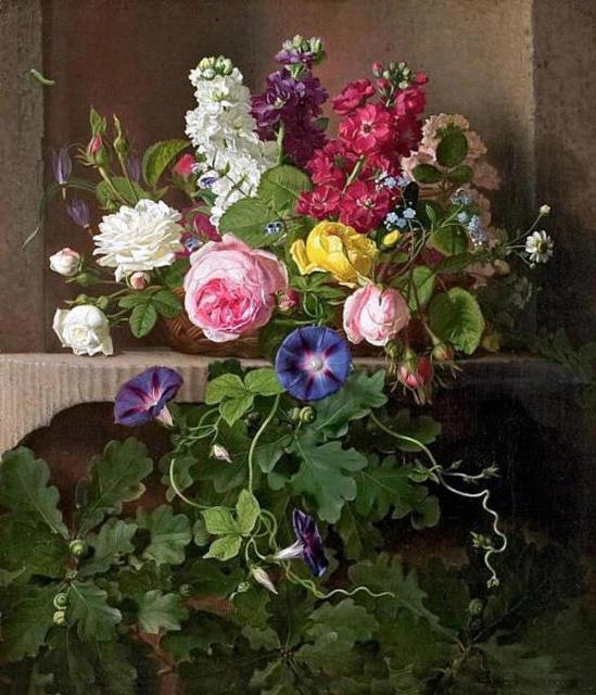 Старинная живопись, цветы