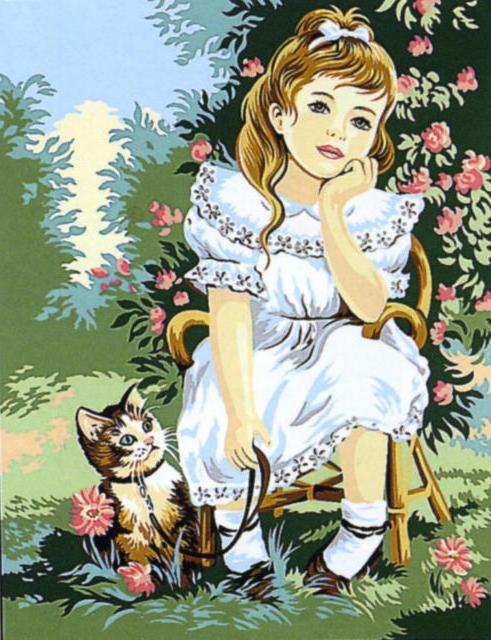 Девочка с котёнком, девочка,