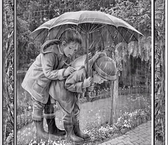 Дети под дождем, оригинал