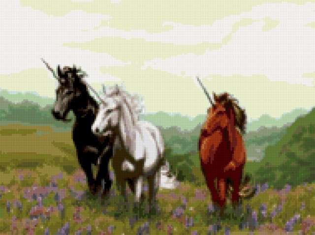 Три богатыря, единороги, кони,
