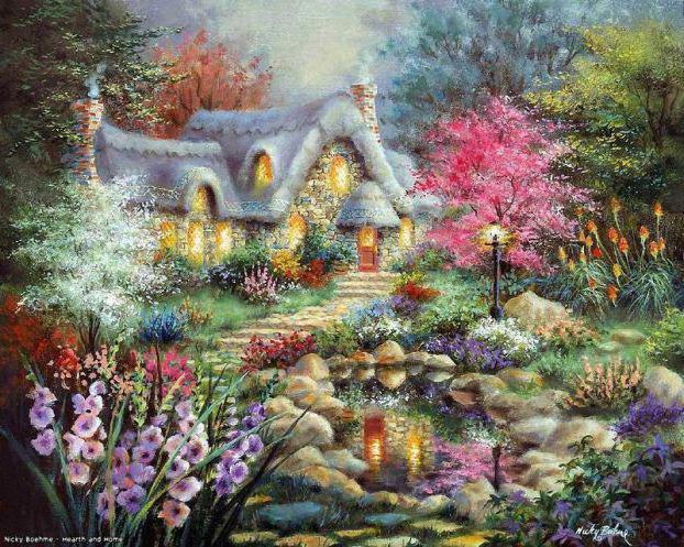 Сказочный домик в саду, домик,