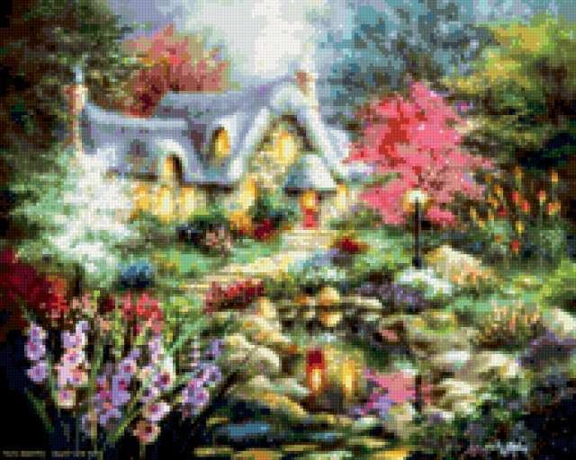 Сказочный домик в саду,