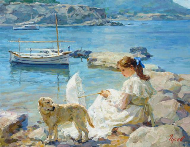 Девушка в белом на фоне моря,