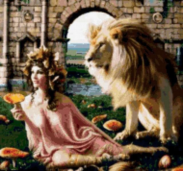 Нимфа и лев, предпросмотр