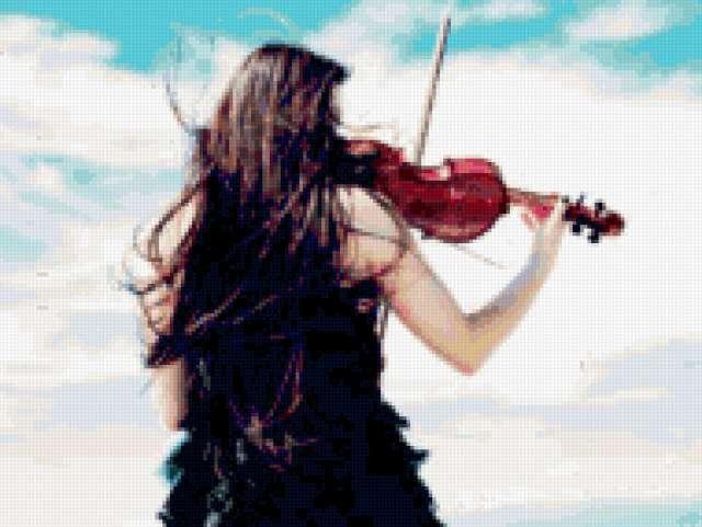 Девушка играет на скрипке,