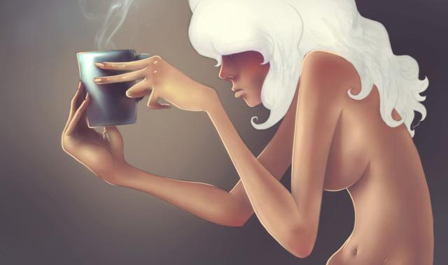 Девушка с чашкой кофе,
