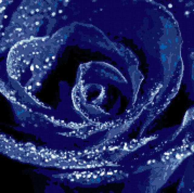 Синяя роза подушка