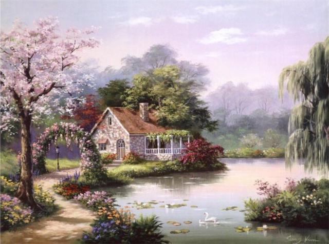 Дом у реки, здание, река