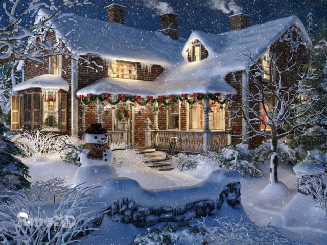 Схема вышивки «Зимний дом»
