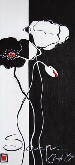 Черно-белые цветы с бутоном,