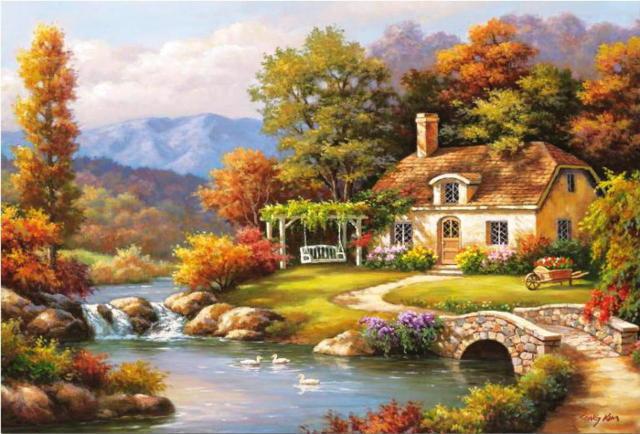 Дом на берегу реки, двор,