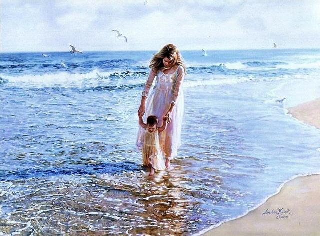 море, мама, волна, пейзаж,