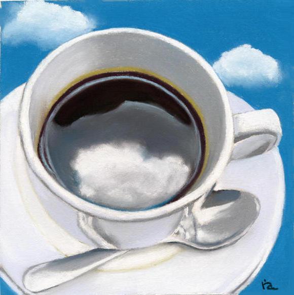 В чашку смотрятся облака.....,