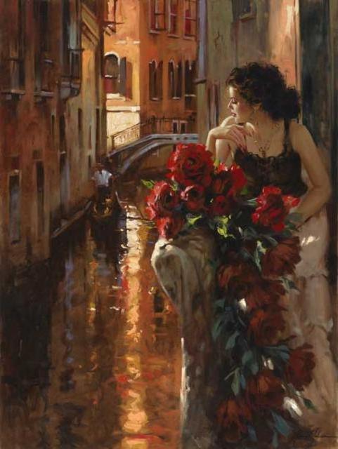 Венеция, девушка, дома, город,