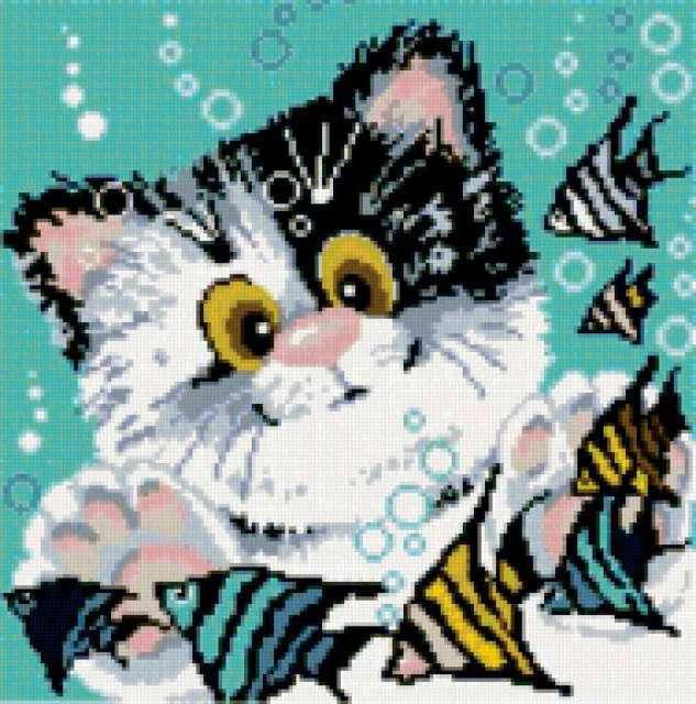 Схемы вышивки кошек 66