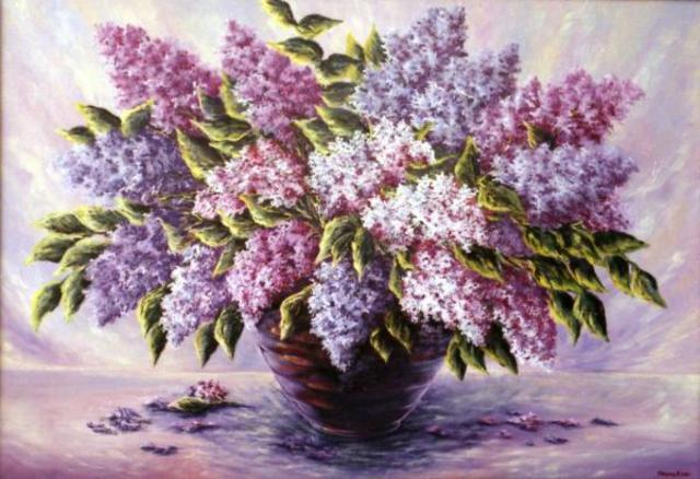 Сирень, цветы в вазе