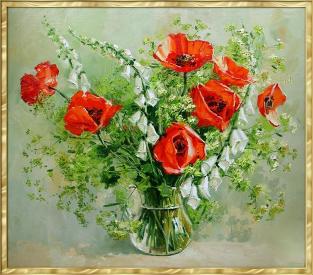 Маки в стеклянной вазе, цветы
