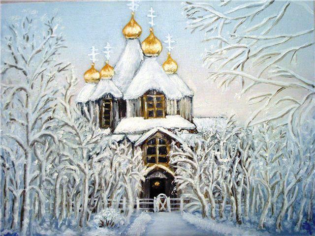 Зимний храм, храм, зима,