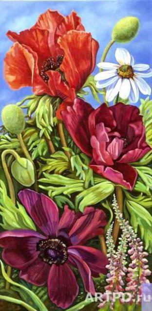 """Триптих """"Полевые цветы"""" 2,"""