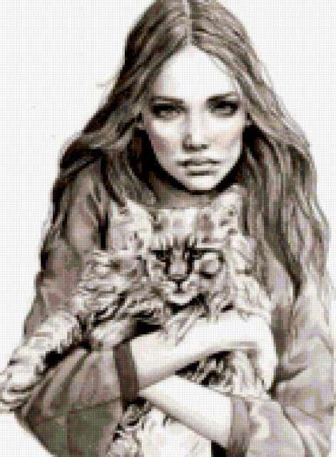 Девушка с котом.графика,