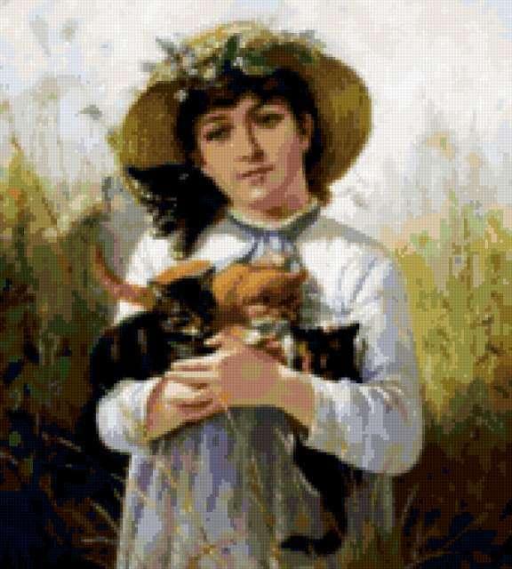 Барышня с котятами, девушка,