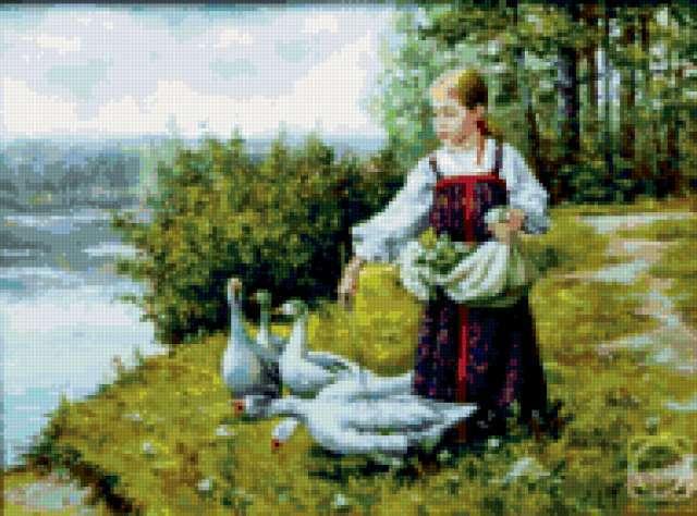 Девочка и гуси, предпросмотр