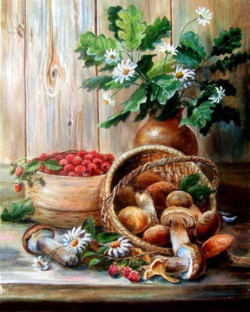 Ягоды и грибы, грибы, ягоды,