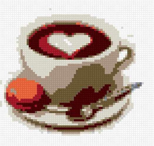 Чашка кофе с пирожным,